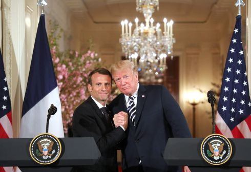 US President Donald Trump and French President Emmanuel Macron hold a joint press conference at the White House in Washington, DC./ AFP PHOTO / Ludovic MARINLUDOVIC MARIN/AFP/Getty Images