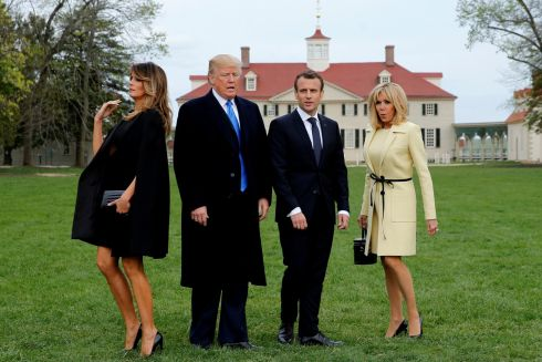 U.S. President Donald Trump and first lady Melania Trump and French President Emmanuel Macron and Brigitte Macron prepare to have their picture taken on a visit to the estate of the first U.S. President George Washington in Mount Vernon, Virginia outside Washington, U.S., April 23, 2018. REUTERS/Jonathan Ernst