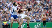 Jonathan Glynn in action against Waterford's  Barry Coughlan during the All-Ireland final. Photograph: Dara Mac Donaill