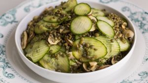 Lentil, cucumber and mushroom salad. Photograph: Emma Jarvis