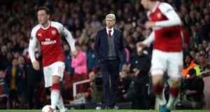 Arsène Wenger watches on during Arsenal's 1-1 draw with Atlético Madrid. Photograph: Nick Potts/PA