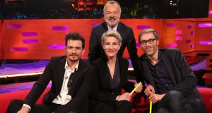 Graham Norton and  Orlando Bloom, Tamsin Greig, and Stephen Merchant during filming for 'The Graham Norton Show'. Photograph: PA Images on behalf of So TV