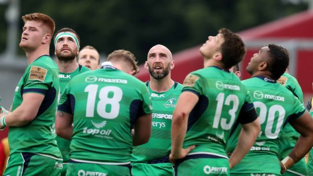Connacht captain John Muldoon with his team-mates after battling Munster in Thomond Park in 2017. Photograph: Billy Stickland/Inpho