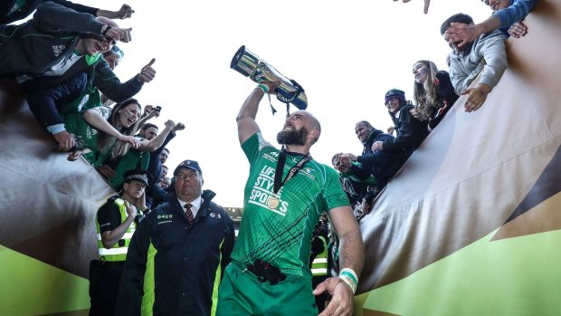Connacht captain John Muldoon celebrates with the fans after beating Leinster in the Pro12 final at Murrayfield. Photograph: Dan Sheridan/Inpho
