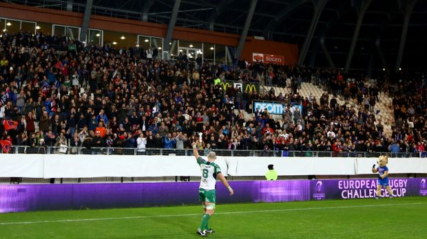 John Muldoon salutes the crowd after Connacht's Challenge Cup quarter-final against Grenoble in 2016. Photograph: James Crombie/Inpho