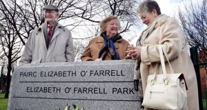 May Mac Giolla at the 2007 unveiling of the stone  to commemorate Elizabeth O'Farrell who played an active role in the 1916 Easter Rising. Also pictured are Tomás Mac Giolla and Maeve Killeen, a great-niece of Ms O'Farrell. Photograph: Cyril Byrne