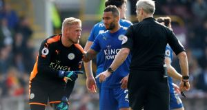 Kasper Schmeichel wil miss Leicester's game at Crystal Palace with an ankle injury. Photograph: Ed Sykes/Action Images via Reuters/Ed Sykes