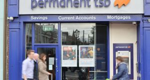 Permanent TSB declined 1.6 per cent to €1.75. Photograph: Alan Betson