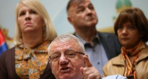 Vojislav Seselj: his conviction earlier this month for war crimes in the 1990s should by Serbian law see him expelled from parliament. Photograph: Marko Djurica/Reuters