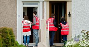 Eighth Amendment: Save the 8th canvassers on Cathedral Road in Cork. Photograph: Daragh Mc Sweeney/Provision