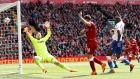 Danny Ings has a goal disallowed at Anfield. Photograph: Carl Recine/Reuters