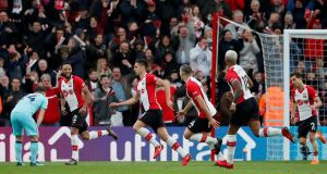 Dusan Tadic celebrates scoring his second and Southampton's winner aganist Bournemouth. Photograph: David Klein/Reuters