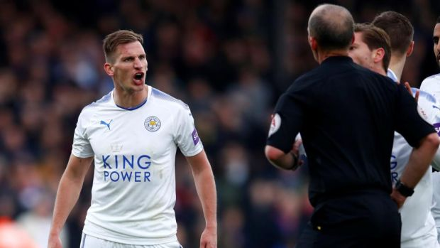 Marc Albrighton reacts after being sent off by Mike Dean. Photograph: Eddie Keogh/Reuters
