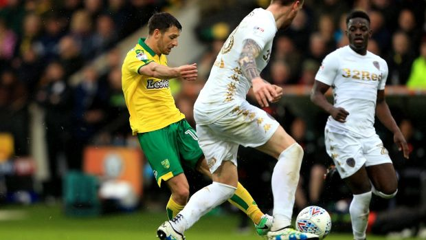 Wes Hoolahan equalises for Norwich against Leeds in his final game for the club. Photograph: Stephen pond/Getty