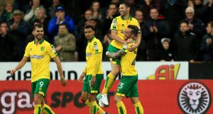 Wes Hoolahan celebrates his goal for Norwich against Leeds. Photograph: Stephen Pond/Getty