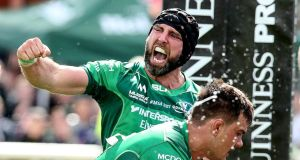 Connacht captain John Muldoon celebrates Kieran Marmion's try during the Guinness Pro 14 game against Leinster at the Sportsground in Galway. Photograph: Gary Carr/Inpho