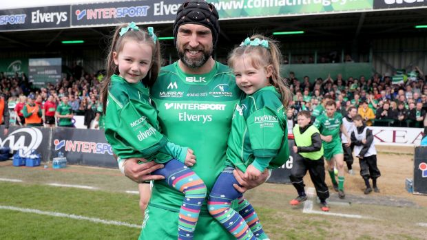 Connacht captain John Muldoon walks out with two of his nieces ahead of the Guinness Pro 14 game against Leinster at the Sportsground in Galway. Photograph: Dan Sheridan/Inpho