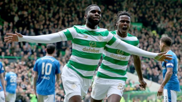 Odsonne Edouard celebrates scoring Celtic's opener against Rangers. Photograph: Jane Barlow/PA