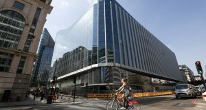 A cyclist cycles in London city centre. Photograph: Simon Dawson/Bloomberg