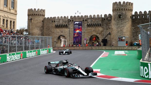 Mercedes' Lewis Hamilton in action during the Azerbaijan Grand Prix. Photograph: Clive Mason/Getty