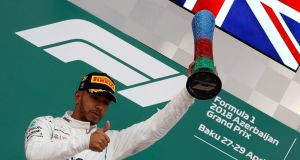 Lewis Hamilton celebrates winning the Azerbaijan Grand Prix. Photograph: David Mdzinarishvili/Reuters