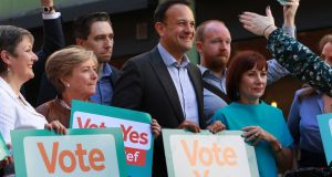 Fine Gael  pressing for a Yes vote in the upcoming referendum on the Eighth Amendment. Photograph: Nick Bradshaw