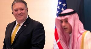 US secretary of state Mike Pompeo and Saudi foreign minister Adel Al-Jubeir during a press conference in Riyadh, on Sunday. Photographs: Ahmed Yosri/EPA