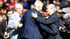 Arsene Wenger is greeted by former United manager Alex Ferguson  and current manager Jose Mourinho at Old Trafford. Photograph: Getty Images