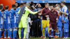 FC Barcelona players are given a guard of honor by Deportivo de la Coruna players. Photograph: PA