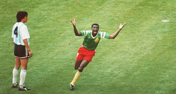 1538194fc Cameroon s François Omam-Biyik celebrates his goal against Argentina.  Photograph  David Cannon