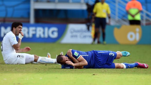 Giorgio Chiellini on the floor after being bitten by Luis Suarez in Natal. Photograph: Javier Soriano/Getty