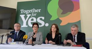 Peter Ward, SC, Ailbhe Smyth, Co- Director of Together for Yes, Grainne Gilmore, BL and Liam Herrick, ICCL, attending a Lawyers for Yes press conference. Photograph: Dara Mac Dónaill/The Irish Times.