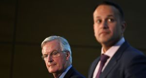 Michel Barnier, the EU's chief Brexit negotiator, and Taoiseach Leo Varadkar attending an all All-Island Civic Dialogue on Brexit in Dundalk. Photograph: Clodagh Kilcoyne/Reuters