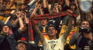 The Tartan Army get behind their team in  Argentina. Photograph: Allsport UK/Allsport