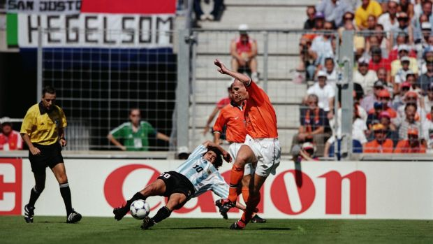 Ariel Ortega and Jaap Stam during Holland's 2-1 win over Argentina. Ortega was set-off leaving both sides with 10 men. Photograph: Doug Pensinger/Getty