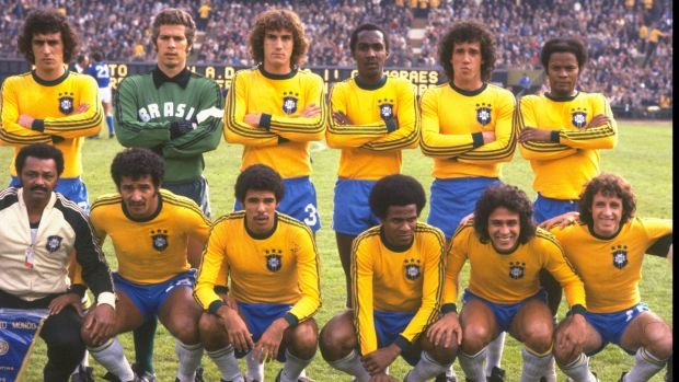 The Brazil team before the 1978 World Cup play-off against Italy in Buenos Aires. Photograph: Allsport