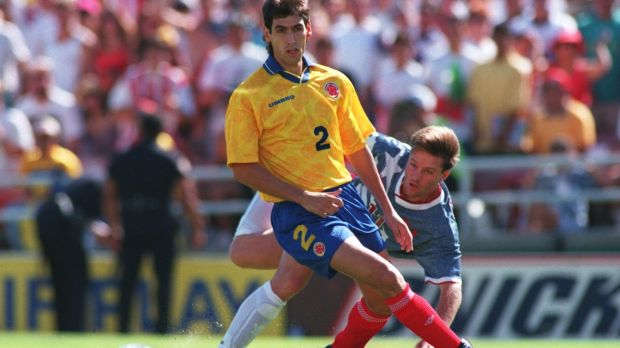 Andrés Escobar holds off the USA's Eric Wynalda. Photograph: Shaun Botterill/Allsport
