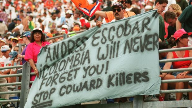 Fans pay tribute to Andrés Escobar during Ireland's clash with Holland at the 1994 World Cup. Photograph: Shaun Botterill/Allsport