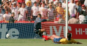 Andrés Escobar scores an own goal against the USA in 1994. Photograph: Romeo Gacad/AFP