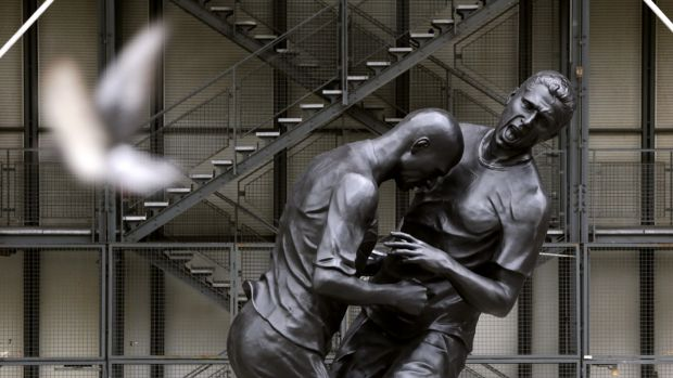 A bronze sculpture at the Centre Pompidou in Paris depicting the incident. Photograph: Getty Images