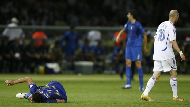 bf1ceb3f8 Zinedine Zidane walks away after fouling Marco Materazzi. Photograph  Dylan  Martinez Reuters
