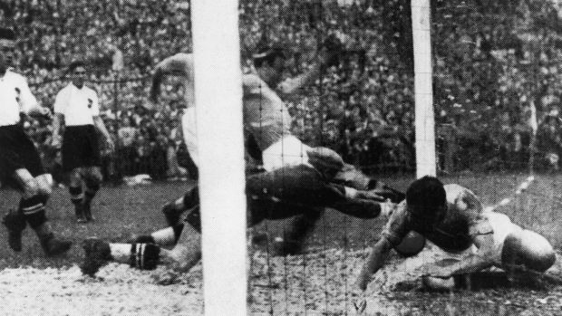 Italy's Enrico Guaita scores the only goal of the 1934 World Cup final. Photograph: Keystone/Hulton Archive/Getty