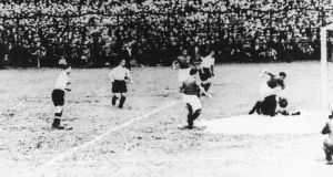 Giuseppe Meazza  sets up Enrico Guaita to score Italy's winner after 10 minutes of the 1934 World Cup semi-final against Austria. Photograph: Keystone/Hulton Archive/Getty