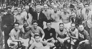 Italy after their 1938 World Cup final win over Hungary. Photograph: Keystone/Getty