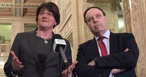 DUP leader Arlene Foster with deputy leader Nigel Dodds:  on Monday Ms Foster accused the EU's chief Brexit negotiator Michel Barnier of not understanding unionist culture.  Photograph:  David Young/PA Wire