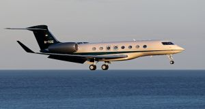 The M-YGIG Gulfstream G650 executive jet, sporting silver and black  livery with an Irish tricolour on its tail, landed at Dublin Airport on Saturday