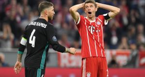 Bayern Munich's  Thomas Mueller will  be renewing acquaintances with  Real Madrid defender Sergio Ramos at the Bernabéu. Photograph:  Christof Stache/AFP