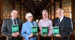 The editors of the four volumes of the Cambridge History of Ireland, professors James Kelly, Jane Ohlmeyer, Brendan Smith and Thomas Bartlett at the book's launch in Trinity College Dublin. Photograph: Mark Stedman