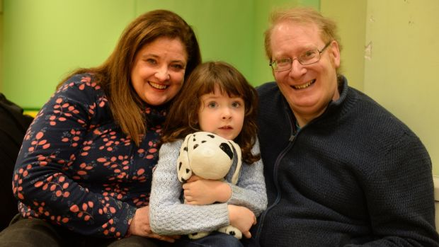 Aisling, at Sensational Kids in Kildare, with parents Elizabeth Conway and Fintan. Photograph: Dara Mac Dónaill