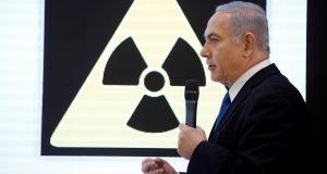 Israeli prime minister Benjamin Netanyahu  during a news conference at the ministry of defence in Tel Aviv on Monday. Photograph:  Reuters/Amir Coheno